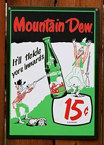 Mountain Dew Soda 15 Cents Retro Vintage Tin Sign by Mountain Dew