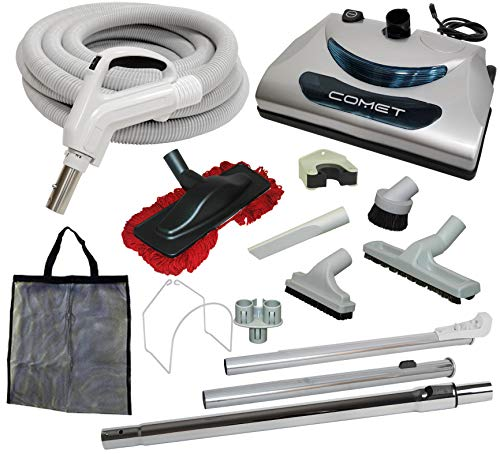 35' 'Comet' Central Vacuum Kit with Hose, Power Head & Tools - Works with All Brands of Central...