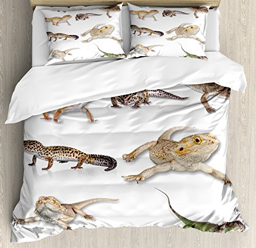 Ambesonne Reptile Duvet Cover Set, Colorful Staring Leopard Gecko Family Image Prehistoric Reptiles Wildlife Art Print, Decorative 3 Piece Bedding Set with 2 Pillow Shams, Queen Size, Beige White