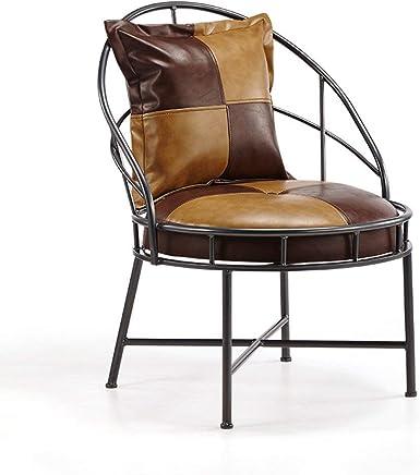 Genven Design Moderne QFF Vintage Bar Chaise, Continental Lounge Chair  Ménage PU Fauteuil Salon Balcon