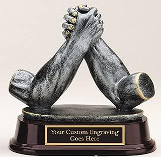 ARM Wrestling AWARD Trophy Resin Cast Sculpture Engraved 5 1/2