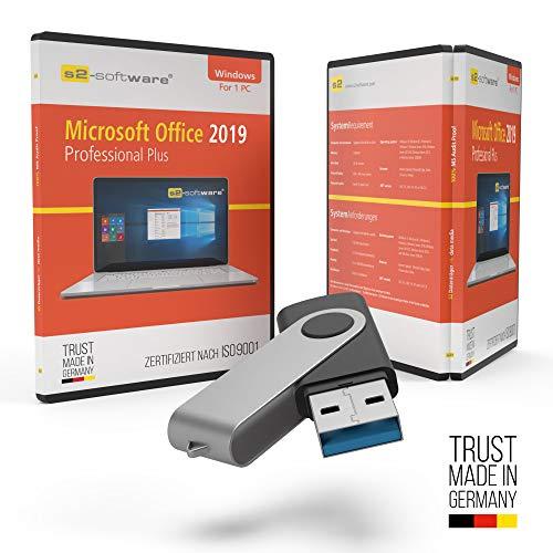 Microsoft® Office 2019 Professional Plus USB Stick mit Verpackung, Unterlagen von Microsoft Lizenz Experten, Zertifikat & Lizenzschlüssel