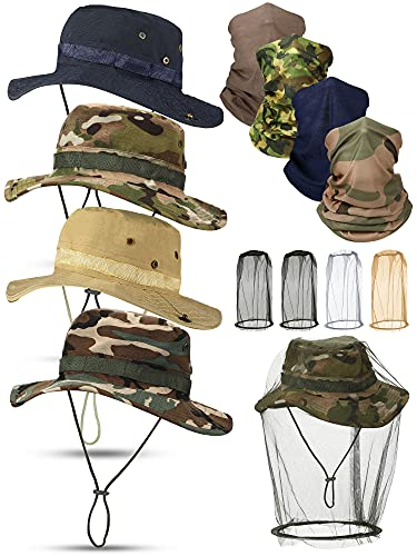 12 Pieces Summer Outdoor Boonie Hat with Netting Set Includes 4 Pieces Sun Summer Caps Camo Fishing Hats 4 Pieces Neck Gaiters and 4 Pieces Head Netting for Men Summer Outdoor Protection