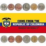 Set de 6 Monedas de Colombia. 1, 2, 5, 10, 20, 50 Pesos. 1974-1989