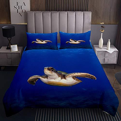 Juego de colcha acolchada con diseño de tortuga marina, 3D, para niños y niñas, decoración de la habitación de animales subacuáticos, ligero, acolchado, tamaño doble
