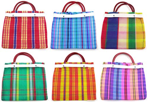 Small Mexican Tote Mercado Bags 7.5 by 7.5 Inches - Assorted Colors - Set of 6 Mexican Party Bags for Candy (High Thread Mesh)