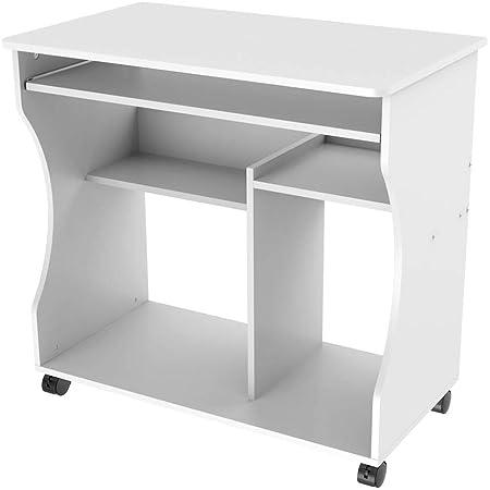 Yaheetech Table/Bureau Informatique Roulettes Table Ordinateur/de Travail avec Grand Clavier et Etagères 80 x 48 x 76 cm Blanc