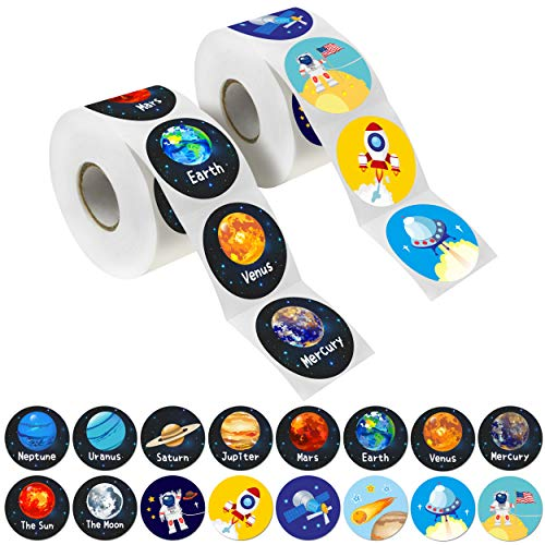 Hebayy 600 PCs Solar System Stickers in Rolls with Perforation Line. Perfect for Toddlers and Kids. 1.5 (Expanded Edition with Astronauts, Comet, The Moon and Satellites)