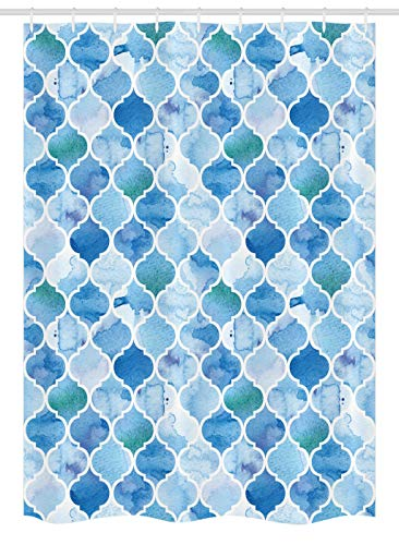 Ambesonne Moroccan Stall Shower Curtain, Oriental Style Mosaic Pattern in Watercolor Paint Retro Style Artwork Print, Fabric Bathroom Decor Set with Hooks, 54' X 78', Pale Blue