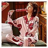MGHN Pijamas para Mujer Primavera otoño Invierno Ropa de Dormir 2 Piezas Conjuntos de algodón de Las Mujeres Pijamas Cuello de Turno de Cuello de torneado Gran tamaño Pijama Pijama
