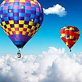 Msrahves Papel tapiz estéreo 3D Cielo azul nubes blancas colorido globo aerostático. Xxl Papel Pintado Tejido No Tejido Decoración De Pared Decorativos Murales Moderna De Diseno Fotográfico Fotomurale