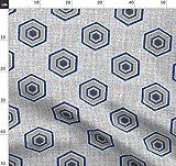 Blau, Geometrisch, Grau, Leinen, Denim, Wabenmuster Stoffe
