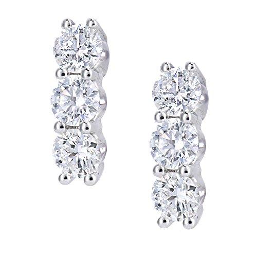 Naava Damen-Ohrhänger 18 Karat 750 Weißgold Rundschliff weiß Diamant DE1664W18