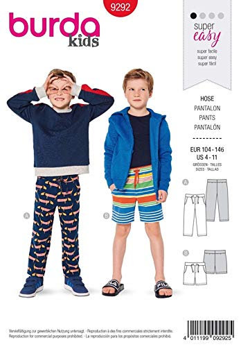 Burda 9292 Schnittmuster Hose (Kids, Gr. 104-146) Level 1 super Easy