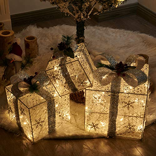 Vanthylit 3PK Halloween/Harvest/Christmas Lighted Gift Boxes White Silver Boxes Light for Home and Outdoor Décor. One for All Presents.