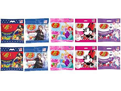 """Jelly Belly Variety Box """"Superstars"""" - 10 Bags of Amazing Flavors Inspired by Female Lead Characters - 2 x Bags of Wonder Woman, Frozen II, Disney Princess, Minnie Mouse & Unicorn Mix…"""