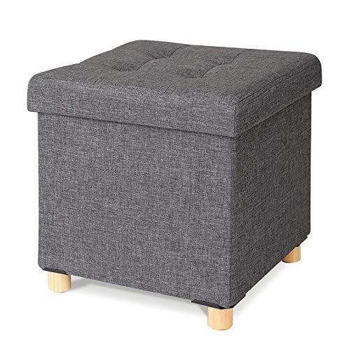 dibea Sitzhocker, Klapphocker, Sitzbank, Aufbewahrungsbox, Farbe grau