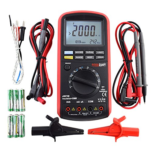 Insulation Tester 50/100/250/500/1000V, Megohmmeter and Multimeter: 50k to 2G Insulation Resistance, DC/AC TRMS Voltage and Current, Resistance, Capacitance, Frequency, Temperature
