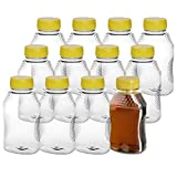 Pack of 12 – Empty Bottles for Honey– Clear Plastic Honey Jars - Plastic Honey Container Refill...