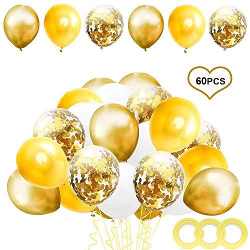 Flow.month 60 Stück Luftballons Rose Gold,Rose Gold Konfetti Ballon Premium Latex Glitter Ballons für Hochzeit und Geburtstag, Halloween, Weihnachten,Baby-Duschen,Graduierung, Valentinstag(Gold)
