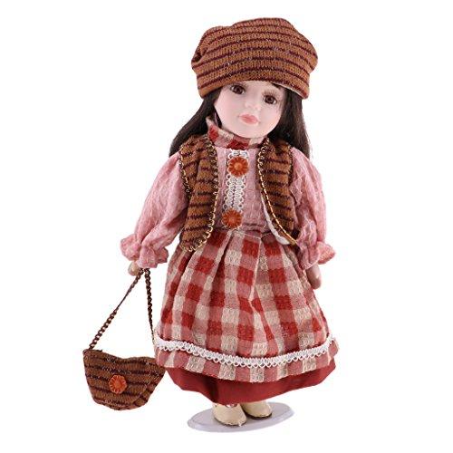 D DOLITY Schöne Viktorianische Mädchenpuppe Porzellanpuppe Keramik Puppe mit Outfit und Puppenständer - Höhe: 30cm - # B