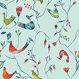 ecosoul 1,4m² Wachstuchtischdecke Birds Breite 140cm Schutzdecke Wachstischdecke PVC Leinen Prägung Länge 160 cm