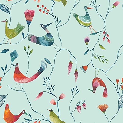ecosoul 1,4m² Wachstuchtischdecke Birds Breite 140cm Schutzdecke Wachstischdecke PVC Leinen Prägung Länge wählbar (1)