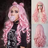 RDY Lolita Baby Pink Lace Front Wig for women Girls Free Part Long Body Wave Synthetic Hair Replacement Cosplay Wigs Half Hand Tied Synthetic Frontal Lace Wig 24 Inch,150% Density