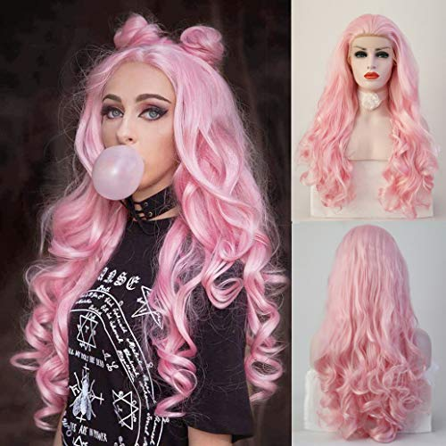 RDY Lolita Baby Pink Lace Front Wig for women Girls Free Part Long Body Wave Synthetic Hair Replacement Cosplay Wigs Half Hand Tied Synthetic Frontal Lace Wig 24 Inch,150nsity