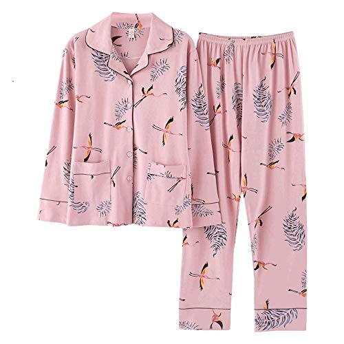 DFDLNL Pijamas de Mujer Primavera Otoño con Cuello en v Ropa de Dormir Conjunto de Dos Piezas Algodón Animal Conjunto de Pijama Informal Pijama Femme XXXL