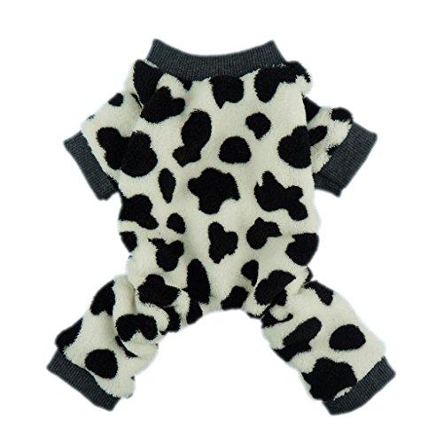 Fitwarm Adorable Milk Cows Pet Dog Clothes Comfy Velvet Winter Pajamas Coat Jumpsuit Chihuahua Pomeranian, Medium
