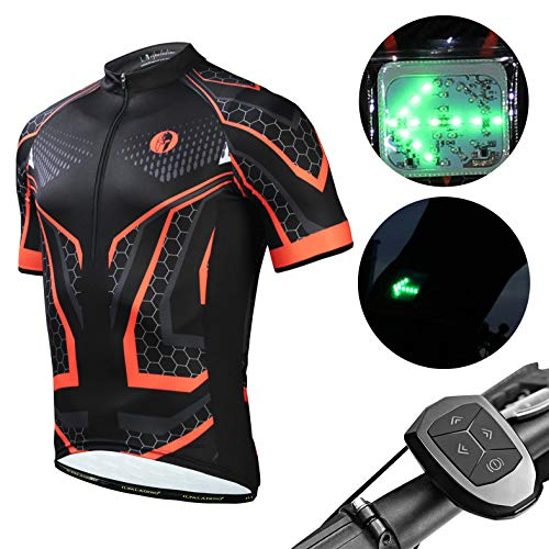 Men's Short Sleeves Cycling Jersey with Wireless Remote Control Chargeable LED Traffic Lights, Breathable Quick Dry Racing Bike Shirt Tops for Night Riding,Black,XXL