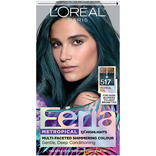 L'Oreal Paris Feria Multi-Faceted Shimmering Permanent Hair Color, Tropical Teal, Pack of 1, Hair Dye