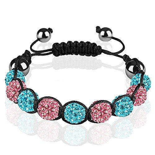 Mianova Shamballa Strass Armband Armreif Glücksbringer Glücks Armband Armreif mit Kristall Kugeln zweifarbig Sky Blue Blau Pink