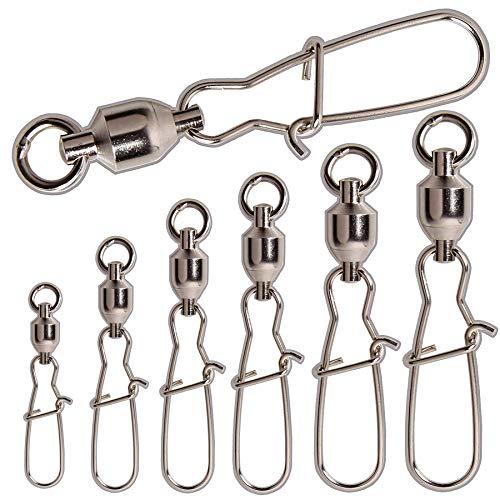 jshanmei® 10 Stück/Set High Stärke Kugellager Wirbel Crane Wirbel Duolock Snaps Schleppen Ausrüstung Angeln Zubehör (100% Kupfer & Edelstahl