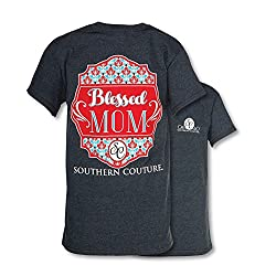 Southern Couture Classic Blessed Mom Womens Inspirational T-Shirt - Dark Heather