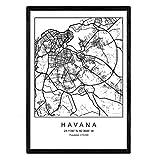 Drucken Havanna Stadtkarte im nordischen Stil schwarz und