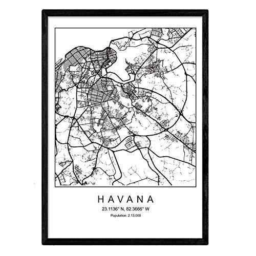 Nacnic Stampa Avana Mappa della Città in Stile Nordico in Bianco e Nero. A3 Formato della Carta Stampata No 250 gr. Dipinti, Stampe e manifesti per Soggiorno e Camera da Letto