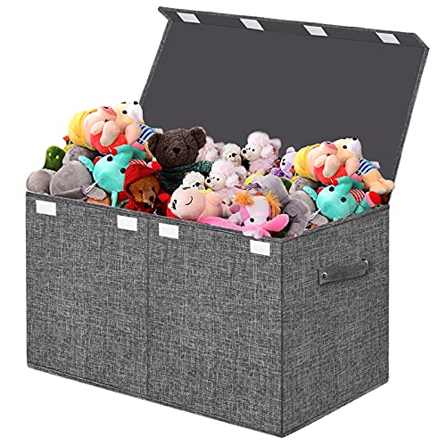 Large Toy Box Storage Chest with Lid for Kids Boys Girls,Foldable Case Trunk Fabric,Collapsible Basket Organiser Container for Nursery,Bedroom,Playroom,Clothes,Blanket,Books,Kindergarten (Dark Grey)