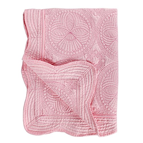 YIQIGO Toddlers and Baby Quilt Lightweight Blanket Embossed Cotton Quilt 4 Seasons Scalloped Newborn Baby Boy/Girl (Pink)
