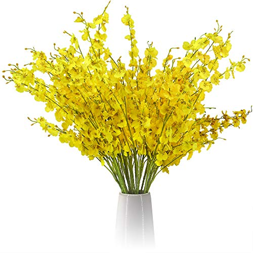 FIFTH EDEN Lifelike Fake Orchids Set – 12 Silk Flowers with Adjustable Stems – Artificial Orchids Yellow Flowers for Beautiful Flower Vase Arrangements – Yellow Artificial Flowers for Decoration