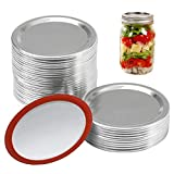 Canning Lids Regular Mouth - Rust-proof Canning Lids, Canning Jar Lids Regular Mouth with Silicone Seals Rings, Split-type Leak Proof, Silver/70 MM/24 Count (Lids)