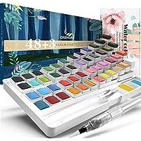 Crbron Watercolor Palette with Bonus Paper Pad & 2 Refillable Water Blending Brush Pens
