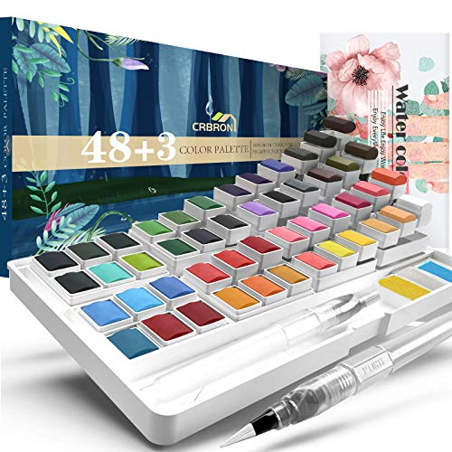 Watercolor Palette with Bonus Paper Pad Includes 48 Premium Colors - 2 Refillable Water Blending Brush Pens - No Mess Storage Case - 15 Sheets of Water Color Paper - Portable Painting