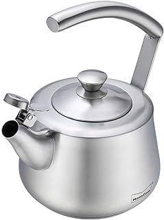 أواني شاي للصفارة للموقد من الأعلى ، غلاية ماء من الفولاذ المقاوم للصدأ 1.5 لتر غلاية الشاي ، غلايات شاي الغذاء الصف موقد