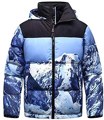 WANGXIAO Heren Down Jack, Hooded Iceberg Patroon 3D Stereo afdrukken Duck Down Filling Warm Jas Winter Sports Wear.