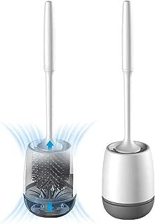 Toilet Brush and Holder Set, Silicone Bathroom Toilet Bowl Brush Set, No Scratch Soft Toilet Cleaner Brush
