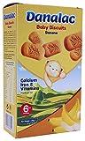 DANALAC Biscuits pour bébé à la banane 120g (paquet de 6) Collation pour les doigts pour les tout-petits de 6 mois et plus avec du calcium, du fer et des vitamines