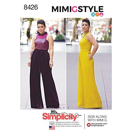 Simplicity 8426 Knippatroon 8426 Dames grote maten Jumpsuit van Mimi G, papier, wit, maat 36-44