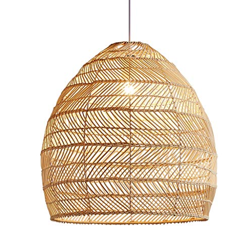 Open Weave Cane Rib Bell Hanging Ceiling Lamp Pendant Light, Wicker Rattan Shades Weave Lamp Light Fixtures Chandelier Dinging Room, 39.4 Inch Adjustable Cord